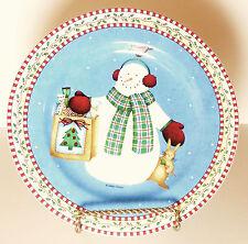 Sakura Jolly Snowmen Bag Salad Dessert Plate Debbie Mumm Blue Red Checkered Rim