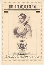 Carte Postale 1938 1er jour Journée du timbre Club Philatélique de Nice
