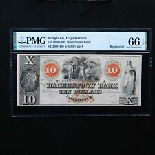 $10 1850's - 60s' Maryland, Hagerstown, PMG 66 EPQ Gem Unc, MD240G46b