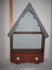 """Rustic Solid Wood Cabin Cottage Shaped Wall Mount Shelf with drawer 24""""T x 15""""W"""