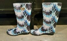 Nicole Miller New York Rain Boots Blue Flowers Size 10 NEW