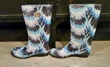 Nicole Miller New York Rain Boots Blue Flowers Size 10 NEW