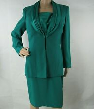 Nahdree Size 8 Dress Suit Jacket Blazer Coat 2 Piece Pleated Torquoise Lined USA