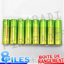 8 PILES ACCUS RECHARGEABLE 18650 3.7V 5000mAh Li-ion + BOITE DE RANGEMENT OFFERT