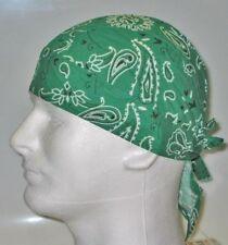 GREEN PAISLEY  COTTON Bandana DURAG Skull Cap