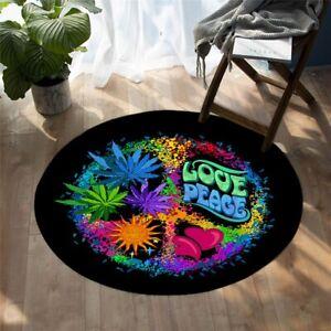 Paint Love Peace Boho Sun Hippie Heart Round Rug Carpet Mat Living Room Bedroom