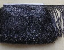 Metallic Black and Silver Tassel Fringe Lace Trim 18 cm Wide 1 Yard