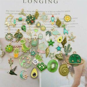 8 Enamel Gold Charms Green Pendants Findings Kawaii Mixed Set Assorted