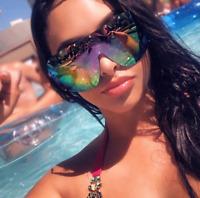 """FULL MASK"" Shield MIrror POLARIZED Lens Women Sunglasses GAFAS OWEN RIMLESS"