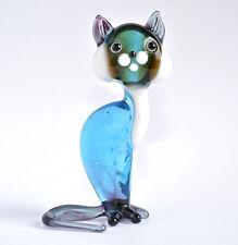 Glass Cat Figurine Glass Cat Figure Glass Animal Sculpture Glass Figurine