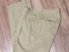 "Tommy Bahama ""Relax"" Khaki 100% Silk Double Pleated Chino Pants Mens 35 X 31"