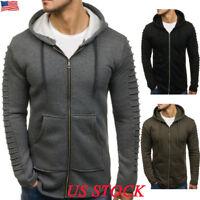 Mens Zip Up Hoodie Hoody Jacket Sweatshirt Casual Gym Hooded Coats Top Winter