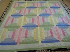 Nice Multi-Color Log Cabin w/Frame Quilt