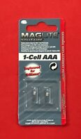"MAGLITE Solitaire Pack of 2 Bulbs for 1-Cell AAA Torch LK3A001U ""NEW & SEALED"""