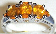 ORANGE MEXICAN FIRE OPAL OVAL BAND RING, PLATINUM / SILVER, SIZE 8, 1.51(TCW)