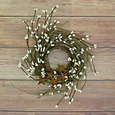 Artificial Pip Berries Wreath Twig with Rusty Barn Star Door Décor,7-Inch(Ivory)