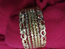 Plated Bracelet Bangles 6pc 2.8 Indian Wedding traditional Design Handmade Gold