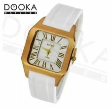 DOOKA Rocky Thin Premium Unisex Gold White Silicone Rubber Watch T019D
