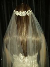 "Drape style Ivory wedding veil 90"" Chapel Pearls 1Tier. Pearl Crystal hair band."
