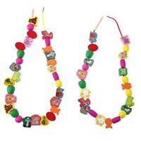 60pcs/lot Cartoon Animal Wooden Toys Kids Stringing Threading Beads Toy