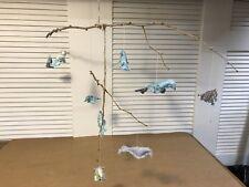 Reduced! Shabby Chic Handmade Bird Mobile Baby Nursery Decor Aqua/Gray Unique