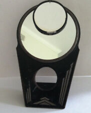"Vintage 40s Art Deco Metal Hollywood Make-Up Mirror Black 8.5"" Tall Rustic Decor"