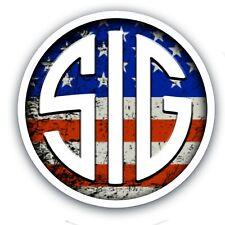 "SIG SAUER USA Flag Gun Rights Tool Box Bumper Sticker Vinyl Decal 3.5"""