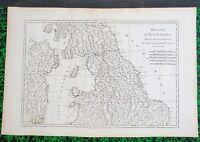 XVIII ème - Royaume Uni Carte d'Angleterre Partie Septentrionale par Bonne  1780