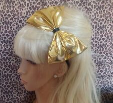 BIG GOLD LAME FABRIC SHINY BOW ALICE HAIR HEAD BAND 80s RETRO FANCY DRESS GLAM