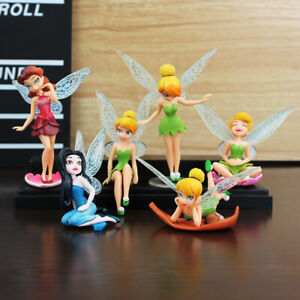 6pcs/Set Kids Doll Fairies Tinkerbell Fairy Wing Action Figure Cake Topper Decor