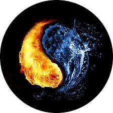 Yin Yang ( Fire and Water ) Jeep Wrangler Liberty RV Trailer Camper Spare Tire