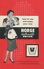 vintage Norge automatic dryer owner's manual 1950's