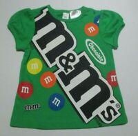 NEW NWT INFANT GIRLS BOSSINI BABY GREEN M&M'S CHOCOLATE TEE SHIRT SIZE 6-12 MON
