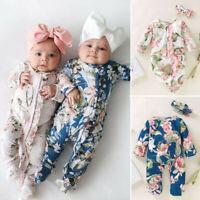 2PCS 0-18M Newborn Baby Girl Floral Romper Jumpsuit Bodysuit Headband Outfit Set