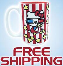 NEW Hello Kitty 3D Glasses Popcorn Universal Studios Cute White Ceramic Mug