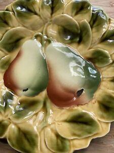 French Majolica Sarreguemines  plate 19cm Pears
