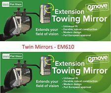 Towing Mirrors FLAT Glass - Caravan Wing Mirror 2 X  EM610