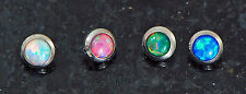 4 Pc Steel 14g 4MM Blue, White, Green Pink Natural Fire Opal Stone Dermal Anchor