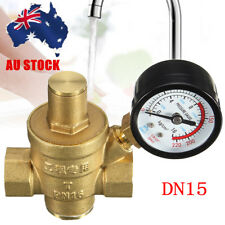 "AU DN15 1/2"" Brass Water Pressure Reducing Regulator Valve Reducer +Gauge  Meter"