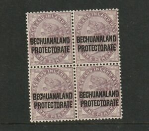 QUEEN VICTORIA 1d LILACOVERPRINT BECHUANALAND PROTECTORATE MINT BLOCK OF 4