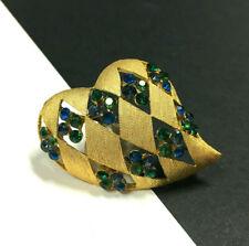 Vtg J.J. JONETTE Abstract HEART Brooch Emerald Green Sapphire Blue RH Gold E92C