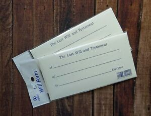 Last Will And Testament Form Printed Envelope and Example Sealed Envelope Kit x2