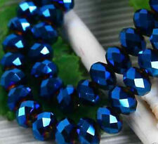 Lovely 100pcs 4x6mm Crystal glass Loose Beads-darkblue AB FREE SHIPPING