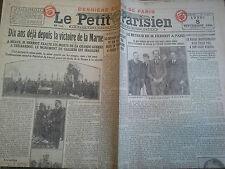 Le Petit Parisien 8 septembre 1924 Dix ans déjà depuis la victoire de la Marne