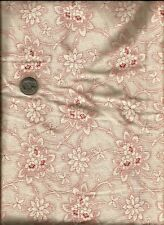 Pretty Scroll Floral & Micro Dot Print dusty rose on cream Fabric -Springs  -24""
