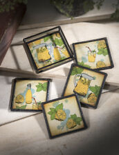 J Devlin Glass Art Stained Glass & Metal LEMONADE Coasters Set of 4 with Holder