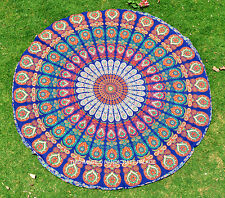 Indian Blue Mandala Tapestries Round Roundie Yoga Mat Beach Throw Wall Hanging