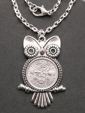 """1957 Lucky Sixpence Owl Charm 20"""" Collier 60th Anniversaire Mariage Reine Royal QE2"""
