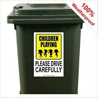 Children playing drive carefully safety wheelie bin sticker sign 9426 30x20cm