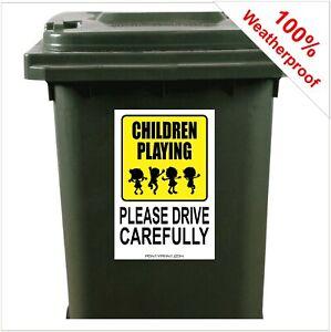 Children playing drive carefully safety wheelie bin sticker sign 9426 30x20cm